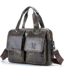 bull captain briefcase for men leather 15 inch laptop shoulder bag for business