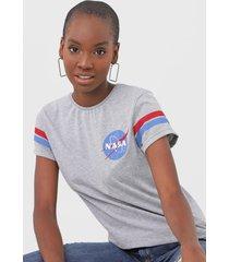 camiseta fiveblu nasa cinza - cinza - feminino - algodã£o - dafiti