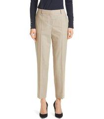 women's boss tocane seam front wool pants, size 12 - beige