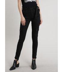 calça de sarja feminina sawary clochard cargo preta