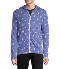 alternative men's star-print hoodie - pacific blue - size xl