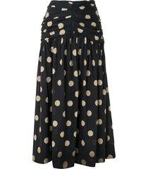 bec + bridge josephine polka-dot flared skirt - black