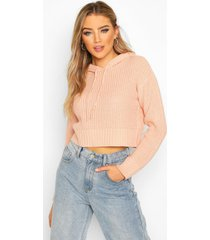knitted hooded cropped sweater, blush
