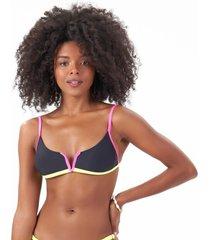 top biquíni liso bicolor arco v c/ bojo removível preto