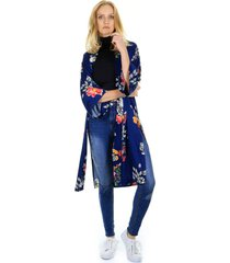 kimono estampado floral com fendas - azul/azul marinho - feminino - dafiti