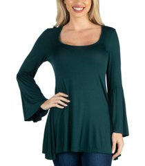 24seven comfort apparel women scoop neck bell sleeve swing tunic top