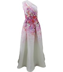 floral one shoulder gown