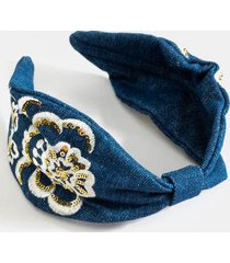 molly embellished denim headband - blue