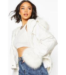 faux fur trim jacket, white