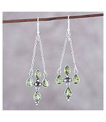 peridot dangle earrings, 'green flare' (india)