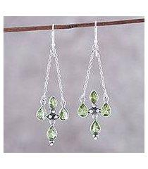 peridot dangle earrings, 'green flare' (india)