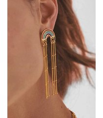 bohemian tassel rainbow dangle earrings