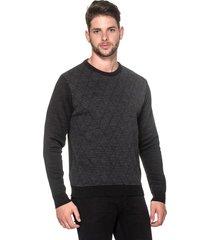 suéter passion tricot slim jacar preto