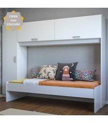 cama solteiro com colchão incluso e guarda roupa multimóveis branco