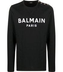 balmain logo-print cotton sweatshirt - black