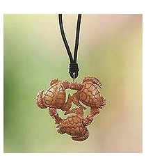 bone and leather pendant necklace, 'happy turtle' (indonesia)