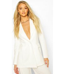 cut away button mix & match tailored blazer, white