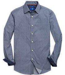 egara navy circle dot pattern sport shirt