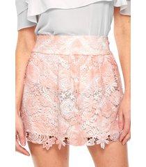 saia triton curta guipir rosa/branca