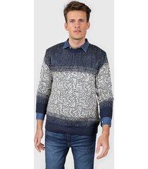 sweater azu moni tricot cuello redondo jaspeado