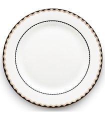 conjunto 6 pratos de porcelana para sobremesa bone china blue gold wolff 21cm - alto relevo