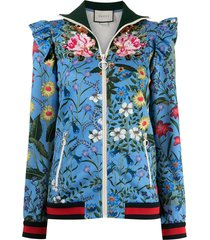 gucci pre-owned ruffled shoulders floral jacket - blue