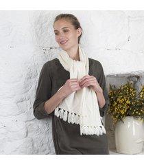 handknitted aran scarf cream