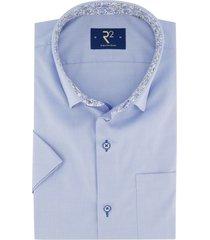 r2 overhemd korte mouwen blauw met borstzak