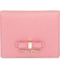 miu miu bow detail embellished wallet - pink