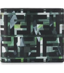 fendi camo bi-fold wallet - black