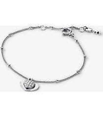 mk bracciale a forma di cuore in argento sterling con placcatura in metallo prezioso e pavé - argento (argento) - michael kors