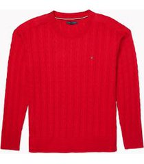 tommy hilfiger women's adaptive cable knit sweater primary red - m