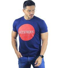 camiseta hombre manga corta slim fit azul marfil outsiders