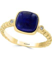 effy women's 14k yellow gold, diamond & lapis cocktail ring/size 7 - size 7