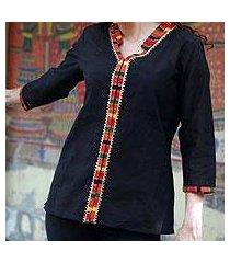 cotton blouse, 'midnight jewel' (india)