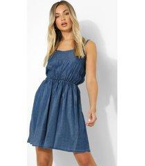 basic denim jurk met bandjes, mid blue