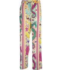 etro naif print silk trousers