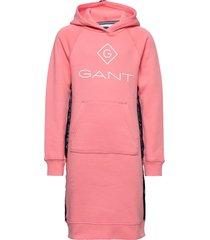 d1. lock up stripe hoodie dress jurk roze gant