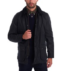 men's barbour ashby wax jacket, size small - blue