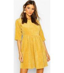 cord smock dress, mustard