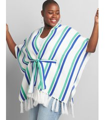 lane bryant women's striped belted poncho with fringe 14/20 multi stripe