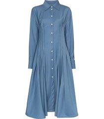 anouki gathered-waist shirt dress - blue