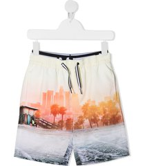 molo neal beachscape print swim shorts - yellow