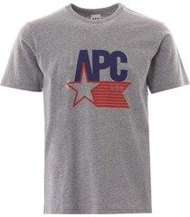 a.p.c cornelius usa logo tee | grey | h26870-pla