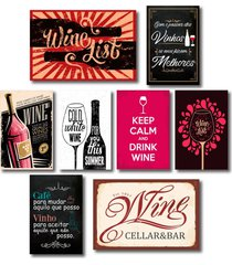 kit 8 placas decorativas vinho wine bebidas mdf - preto - dafiti