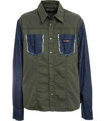 denim and canvas shirt for man