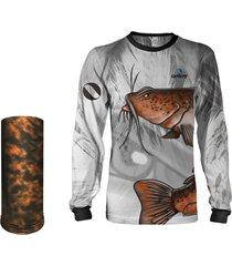 camisa + máscara pesca quisty bagre bruto proteção uv dryfit infantil/adulto - camiseta de pesca quisty