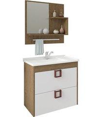 gabinete suspenso para banheiro lírio com espelho 59x35,5cm carvalho e branco