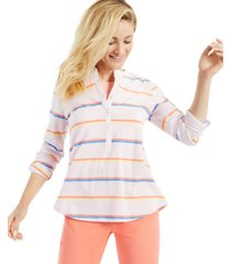 style & co cotton striped roll-tab top, created for macy's