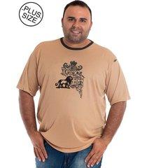 camiseta konciny manga curta plus size bege